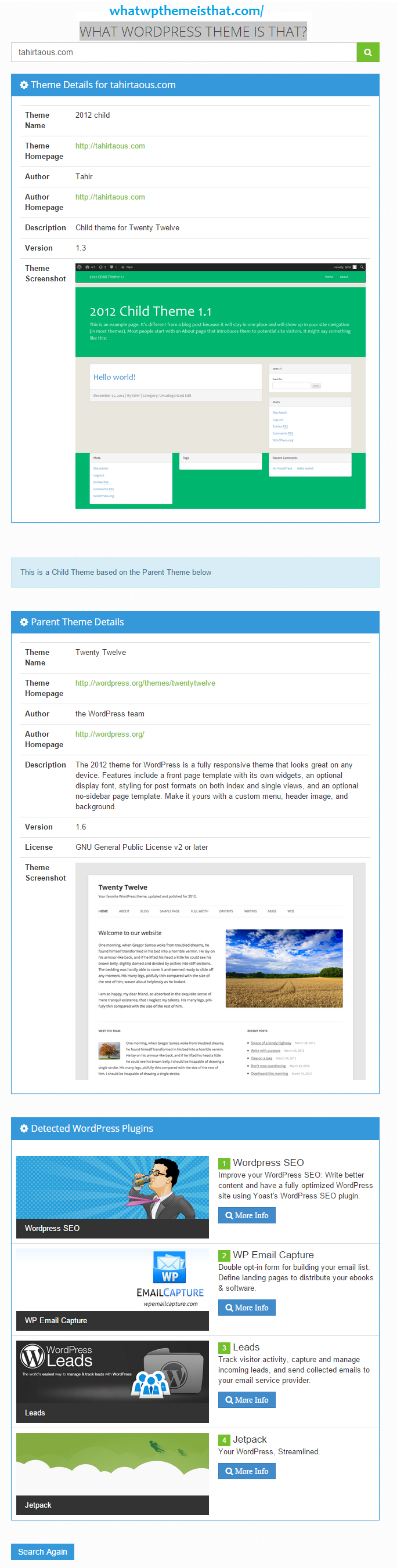find out what theme a website is using
